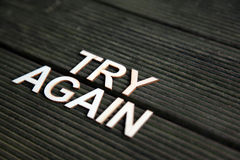 Encouraging words. That say to try again stock image