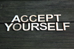 Encouraging words. That says to accept yourself Stock Photos