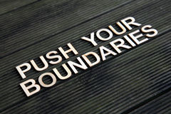 Encouraging words. That says to push your boundaries Stock Photography