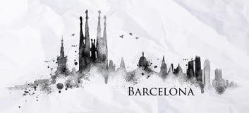 Encre Barcelone de silhouette Image libre de droits