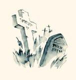 Encre bleue de vieux cimetière juif illustration de vecteur