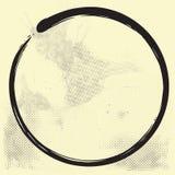 Encre d'Enso Zen Circle Brush Vector Illustration sur le vieux papier illustration libre de droits