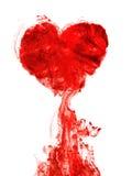 Encre de forme de coeur de sang Photographie stock