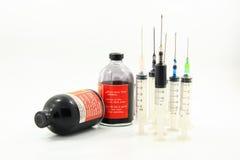 Encre et seringue de bouteille pour l'imprimante Images stock
