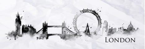 Encre Londres de silhouette illustration de vecteur