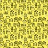 Encrez le dessin, cactus décoratifs ethniques sur le fond jaune illustration libre de droits