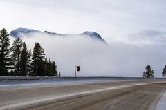 Encroaching fog along Canada Highway 93 Banff-Windermere Highway, in the Canadian Rockies Kootenay National Park during winter. Icy roads with sand and salt royalty free stock photo