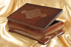 Encrustation wooden box for keeping valuables Stock Photo
