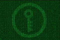 Encrypted digital key with green binary code Stock Photos