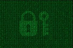 Encrypted digital lock and key with green binary code Stock Photo