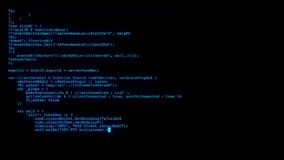Encrypted fast long scrolling programming security hacking code data flow stream on blue display new quality numbers. Encrypted fast long scrolling programming stock video footage