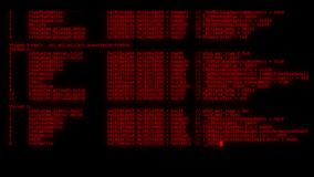 Encrypted fast long scrolling programming security hacking code data flow stream on red display new quality numbers. Letters coding techno joyful video 4k stock stock footage