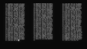 Encrypted fast long scrolling programming security hacking code data flow stream on black white display new quality. Encrypted fast long scrolling programming stock footage