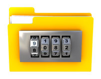 Encrypted file. 3d illustration of folder icon with combination lock, isolated over white Royalty Free Stock Image