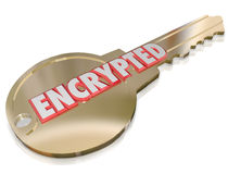 Encrypted Key Computer Cyber Crime Prevention Security. The word Encrypted on a gold key to illustrate computer network cyber crime prevention and security stock illustration