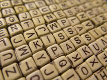Background made of wooden cubes with letters, with the words Kis royalty free stock photo