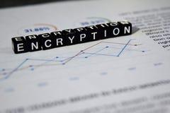 Encryptie op houten blokken Concept van Cyber van de ingangsinformatie het Zeer belangrijke royalty-vrije stock afbeeldingen