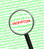 ENCRYPTION in red revealed in green computer machine code Royalty Free Stock Image