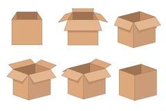 Encuadierne la entrega y el almacenamiento que empaquetan la caja abierta fijada Ilustración del vector aislada en el fondo blanc imagenes de archivo