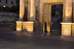 Encuadre del arco del Trinfo. In this photo taken at dawn and photo tripod wanted to bring prominence to the main entrance of the monument and let dim the royalty free stock photos