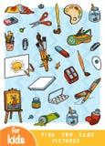 Encuentre dos las mismas imágenes, juego para los niños Sistema de color de objetos de los artistas libre illustration
