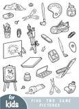 Encuentre dos las mismas imágenes, juego para los niños Sistema de objetos de los artistas libre illustration