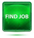 Encuentre el botón cuadrado verde claro de neón del trabajo stock de ilustración