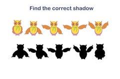 Encuentre el ejemplo correcto del vector de la acción de la sombra del búho de las historietas ilustración del vector