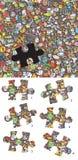 Encuentre el juego correcto de la representación visual del pedazo ¡Solución en capa ocultada! Foto de archivo