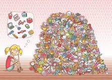 Encuentre el juego de la representación visual de los objetos ¡Solución en capa ocultada! Imagen de archivo libre de regalías
