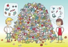 Encuentre el juego de la representación visual de los objetos ¡Solución en capa ocultada! Foto de archivo libre de regalías