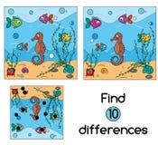 Encuentre el juego educativo de los niños de las diferencias Embroma la hoja de la actividad Imagen de archivo libre de regalías