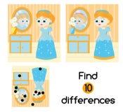 Encuentre el juego educativo de los niños de las diferencias Embroma la hoja de la actividad con la princesa hermosa de la muchac Fotografía de archivo