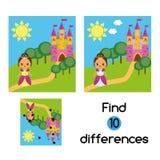 Encuentre el juego educativo de los niños de las diferencias Embroma la hoja de la actividad con la princesa hermosa de la muchac Fotos de archivo libres de regalías
