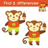 Encuentre el juego educativo de los niños de las diferencias Embroma la hoja de la actividad con el mono de la historieta Fotografía de archivo