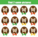 Encuentre el mismo juego educativo de los niños de las imágenes Erizo idéntico del hallazgo dos Foto de archivo