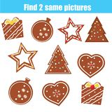 Encuentre el mismo juego educativo de los niños de las imágenes Galletas idénticas de la Navidad del hallazgo dos Foto de archivo