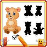 Encuentre el oso correcto del bebé de la sombra Juego a juego de los niños de la sombra libre illustration