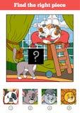 Encuentre el pedazo correcto, juego para los niños Dos gatos ilustración del vector