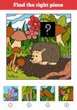 Encuentre el pedazo correcto, juego para los niños Erizo stock de ilustración