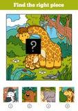 Encuentre el pedazo correcto, juego para los niños Jirafa dos ilustración del vector