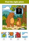 Encuentre el pedazo correcto, juego para los niños Osos y fondo ilustración del vector