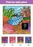Encuentre el pedazo correcto, juego para los niños Pescado ilustración del vector
