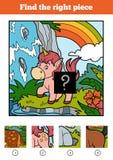 Encuentre el pedazo correcto, juego para los niños Poco unicornio ilustración del vector