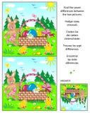 Encuentre el rompecabezas de la imagen de las diferencias con el conejito de pascua, los huevos, los polluelos y la cesta stock de ilustración