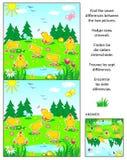 Encuentre el rompecabezas de la imagen de las diferencias con los polluelos libre illustration