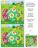 Encuentre el rompecabezas de la imagen de las diferencias con tres huevos de Pascua ilustración del vector