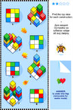 Encuentre el rompecabezas visual de la matemáticas de la visión superior stock de ilustración