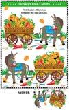 Encuentre el rompecabezas visual de las diferencias con el burro y las zanahorias ilustración del vector