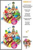 Encuentre el rompecabezas visual de las diferencias - juguetes retros stock de ilustración